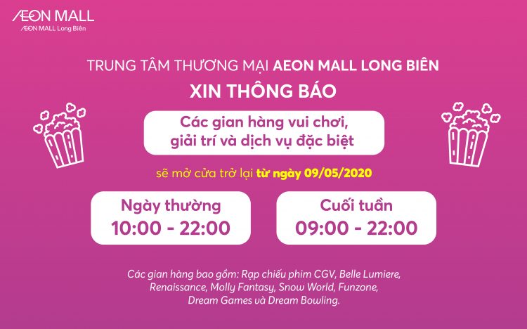 REOPENING ENTERTAINMENT AREA AND SPECIAL AREA AT AEON MALL LONG BIEN