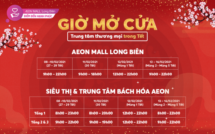 AEON MALL LONG BIEN OPENS EVERYDAY DURING LUNAR NEW YEAR 2021